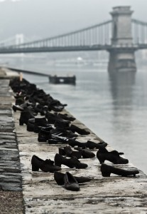 Shoe memorial on Danube bank from where many Jews were shot into the river