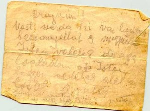 Letter thrown from a train by a deportee