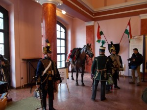 Hussars in the marble hall of the museum