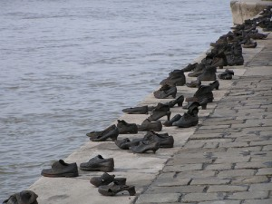 Statue of shoes of Jews on the river bank.
